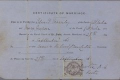 The marriage certificate of Edward Fernley to Mary Garger in 1861